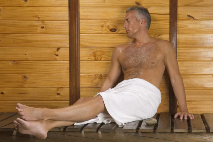 Mature in sauna