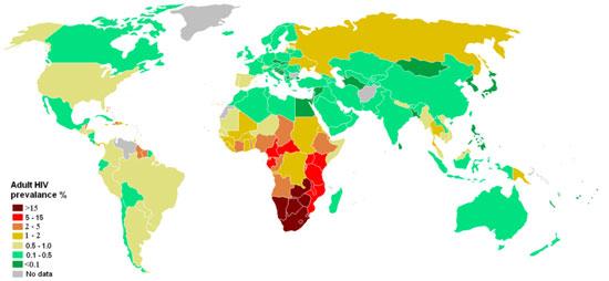Estimated HIV/AIDS prevalence