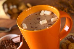 Hot chocolate in orange mug