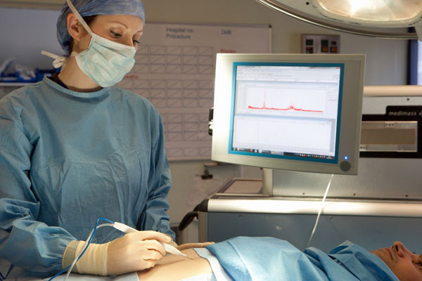 The iKnife being used by a surgeon