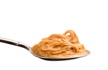 Peanut butter on teaspoon