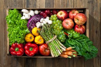 Fruit and vegetables displayed in a crate