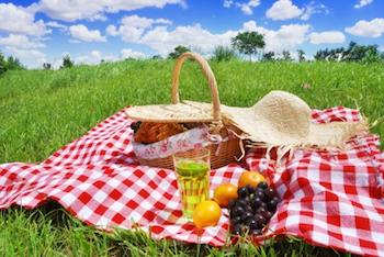 A picnic laid out on a rug in the middle of a field