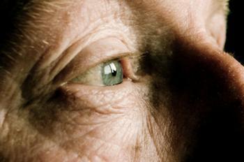 Close-up view of the eye of an elderly gentleman