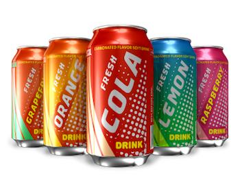 Selection of soda cans