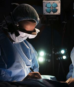 Surgeon wearing the high-tech glasses