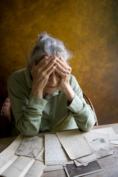 old woman looking distraught