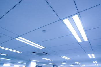 Lights in an office ceiling