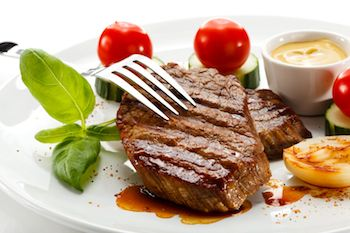 Grilled steak with salad on a plate