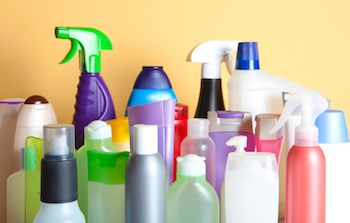 Selection of unbranded cleaning products
