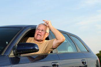 an older driver looking flustered