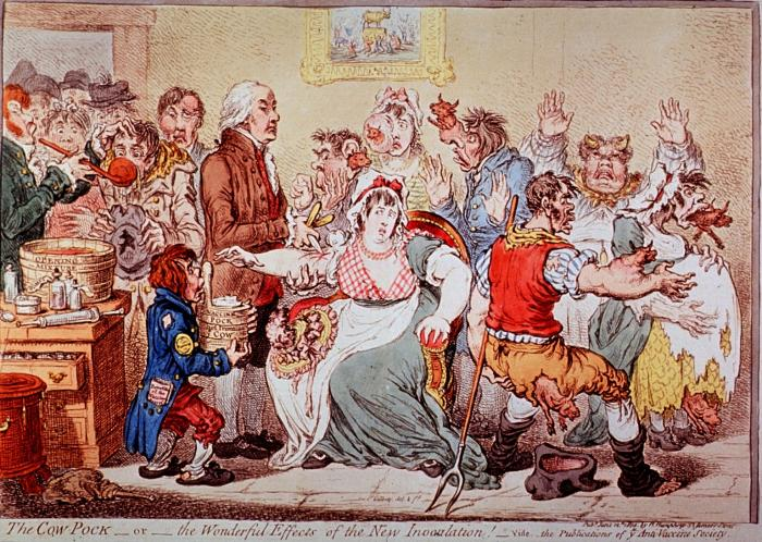 satirical painting from 1802 depicting vaccination fears