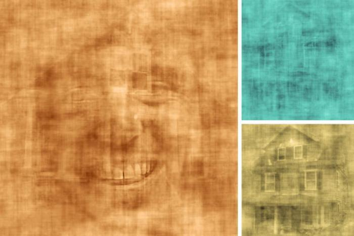 images of faces overlapping with images of houses