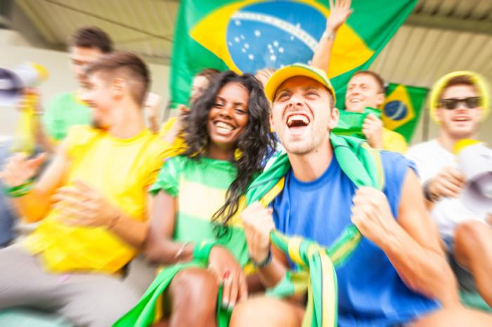 Brazil fans watching a soccer match