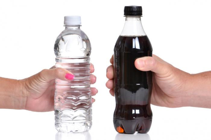 bottled water and bottle of cola