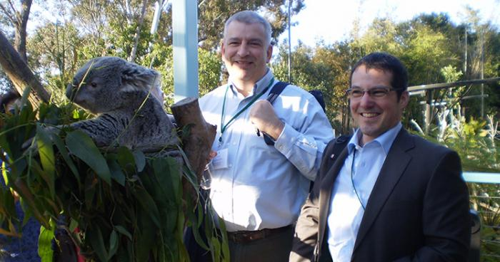 [Professor of Animal Sciences Alfred Roca (left) with Alex Greenwood of the Leibnitz Institute, Berlin at the San Diego Zoo.]