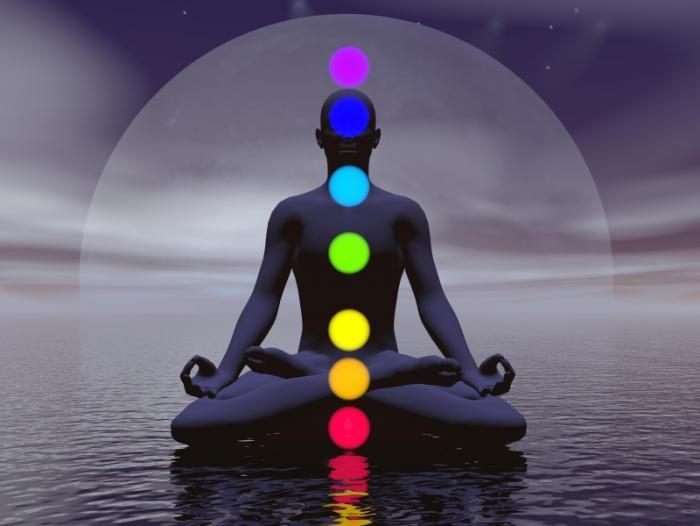 man sitting with chakras