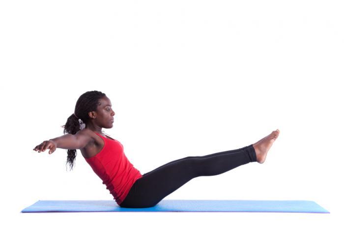 woman balancing on her bottom