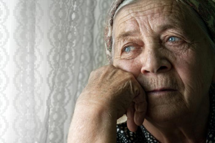 Sad unhappy older person.